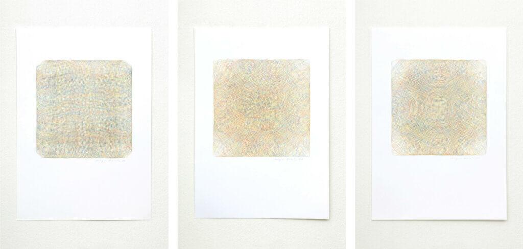 """Auswahl aus der Serie """"Annäherung"""", 2018, Farbstift auf Papier, je 84 x 59.4 cm"""