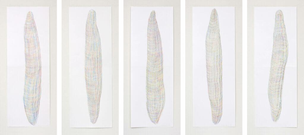 """Auswahl aus der Serie """"Farbkörper"""", 2019, Farbstift auf Papier, je 168.2 x 59.4 cm"""