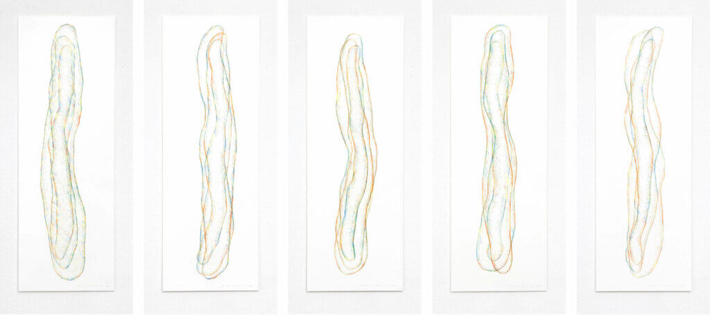 """""""Transparent"""", 2018, 5-teilig, Farbstift auf Papier, je 100 x 35 cm"""