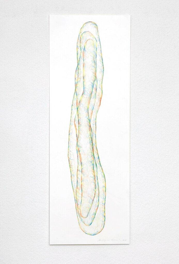 """Transparent"", 2018, 5-teilig, Farbstift auf Papier, 100 x 35 cm, Blatt 1"