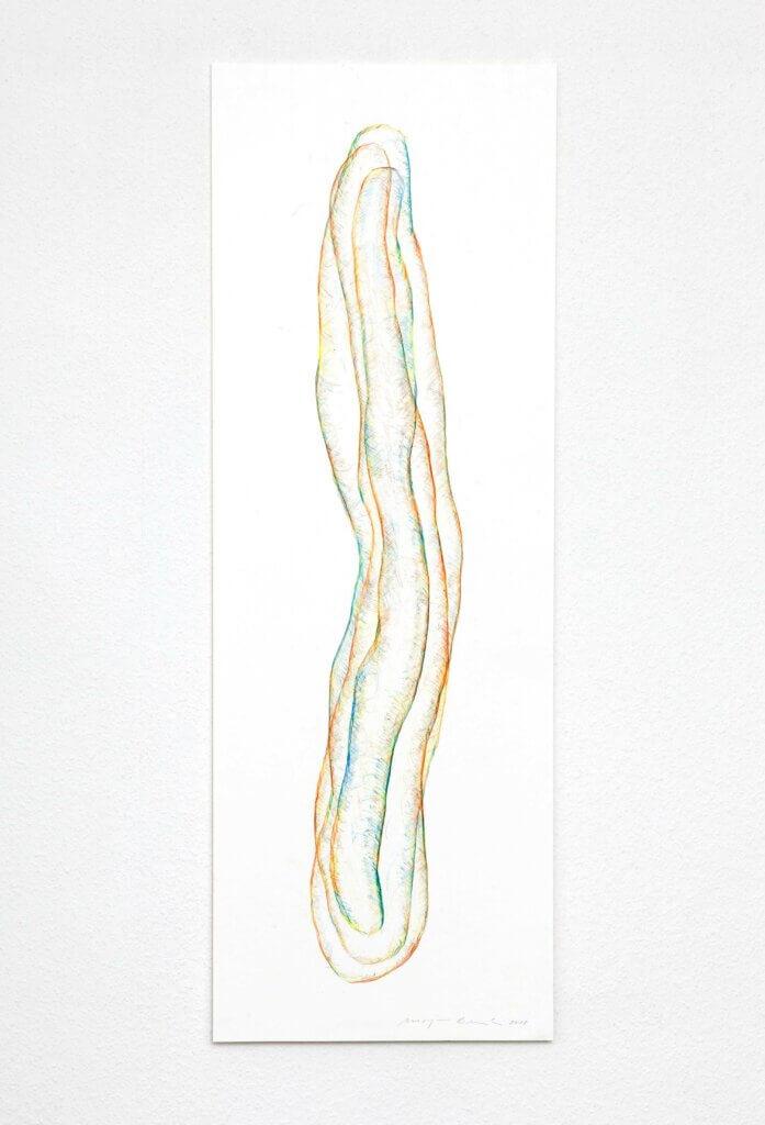"""Transparent"", 2018, 5-teilig, Farbstift auf Papier, 100 x 35 cm, Blatt 3"
