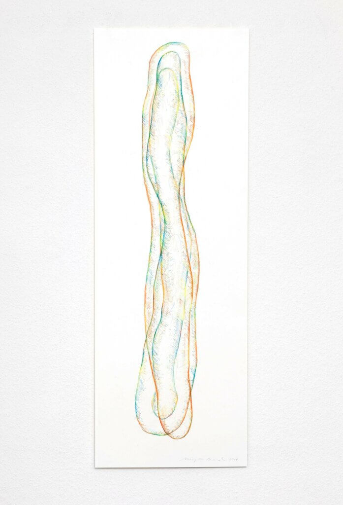 """Transparent"", 2018, 5-teilig, Farbstift auf Papier, 100 x 35 cm, Blatt 4"