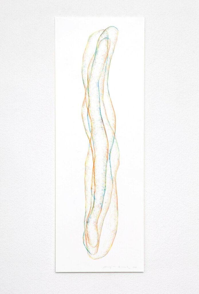 """Transparent"", 2018, 5-teilig, Farbstift auf Papier, 100 x 35 cm, Blatt 5"
