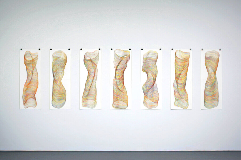 """Drehmomente"", 2009, Farbstift auf Papier, je 118.8 x 42 cm"