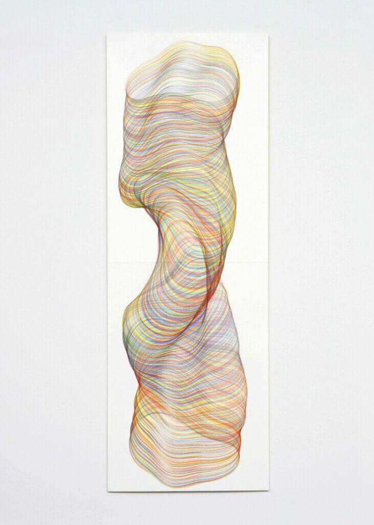 """""""Drehmomente"""", 2009, Farbstift auf Papier, 118.8 x 42 cm, Blatt 5"""