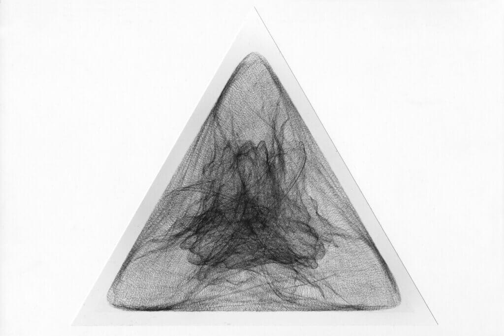 """""""Dreiklang"""", 1993, Bleistift auf Papier, Seitenlänge 112 cm"""