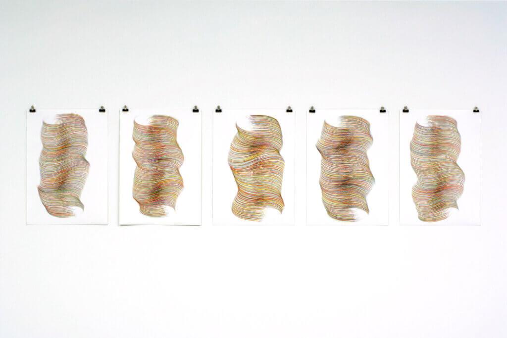 """""""Einwenden"""", 2007, Farbstift auf Papier, 5-teilig, je 59.4 x 42 cm"""
