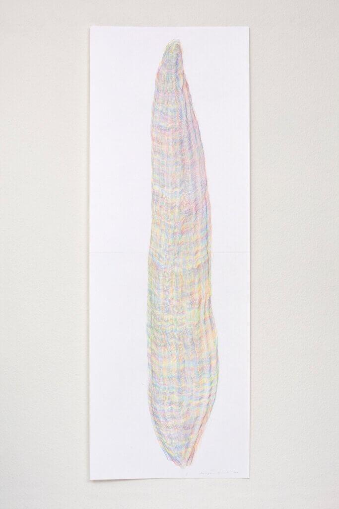 """Aus der Serie """"Farbkörper"""", 2019, Farbstift auf Papier, 168.2 x 59.4 cm"""
