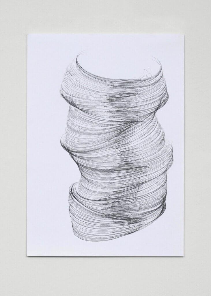"""""""Geneigt"""", 2006, Bleistift auf Papier, 5-teilig, 42 x 29.7 cm, Blatt 1"""