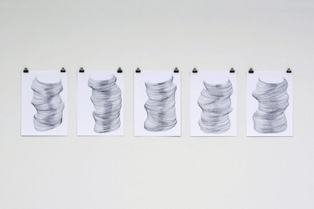 """""""Geneigt"""", 2006, Bleistift auf Papier, 5-teilig, je 42 x 29.7 cm"""