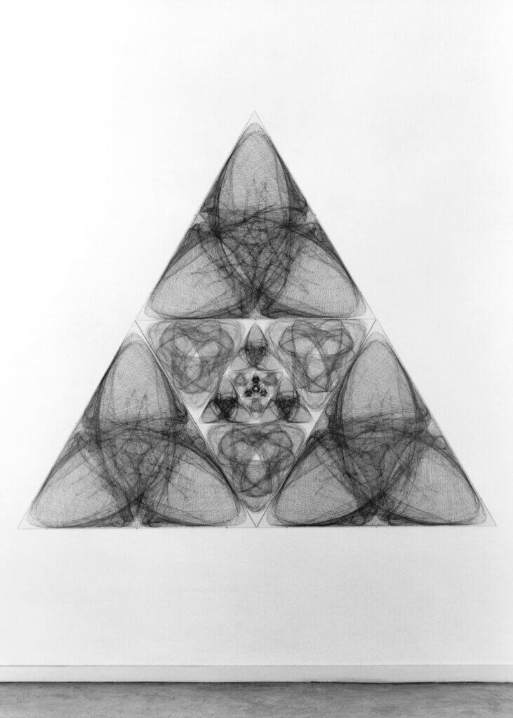 """""""Laudatio"""", 1993, Bleistift auf Papier, 16-teilig, Seitenlänge 224 cm Aufnahme: Ausstellungsraum Klingenthal, Basel"""