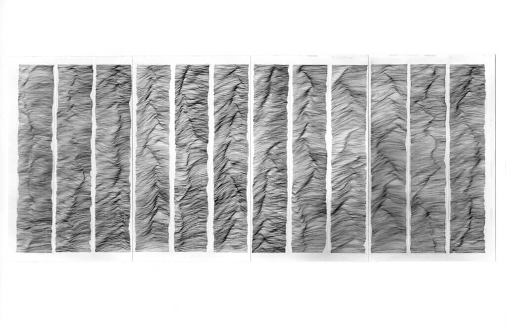 """""""Litanei"""", 1990-91, Tusche auf Transparentpapier, 12-teilig, je 166 x 32 cm"""