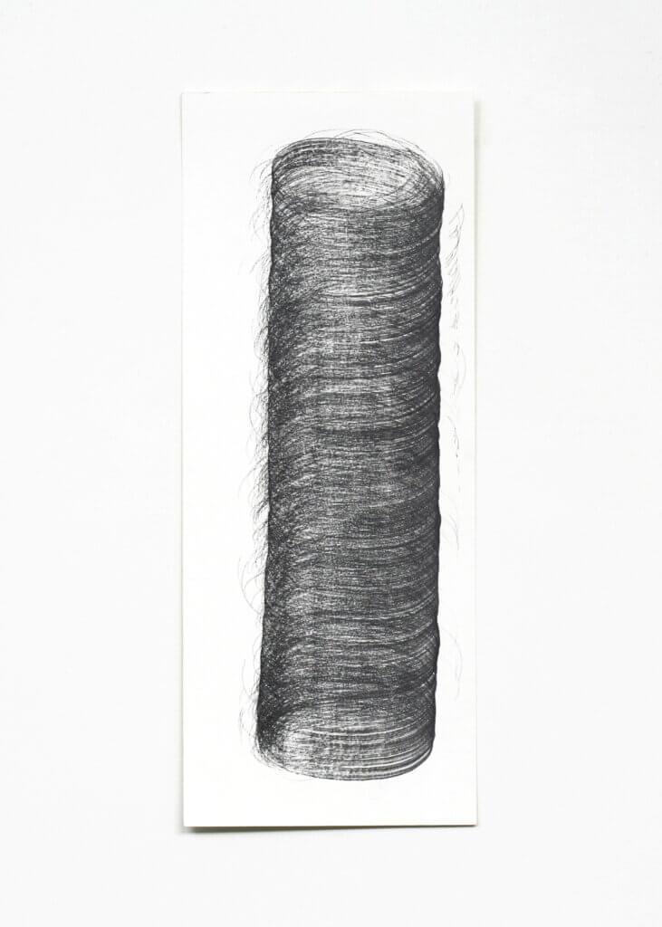 """Pillars"", 2006, Bleistift auf Papier, 50 x 20 cm, Blatt 1"