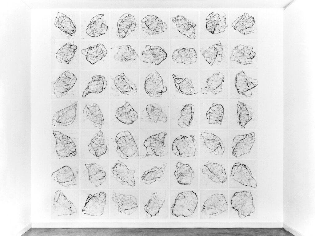"""""""Solo für ein Instrument"""", 1991, Hommage an John Cage, Tusche auf Transparentpapier, 49-teilig, je 42 x 42 cm Aufnahme: Ausstellungsraum Klingenthal, Basel"""