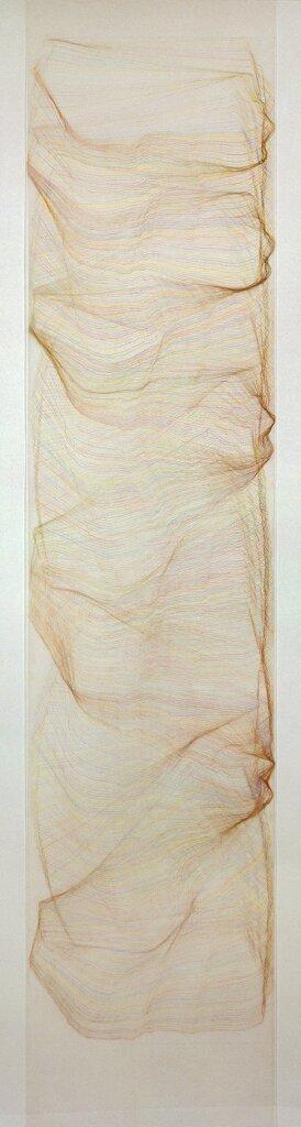 """""""Steinsäule II"""", 1992, Farbstift auf Transparentpapier, 140 x 35 cm"""