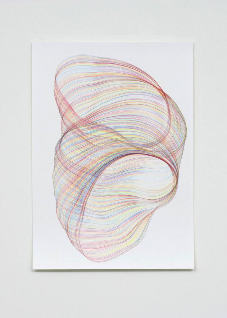 """""""Verschlaufen"""", 2008, Farbstift auf Papier, 59.4 x 42 cm, Blatt 3"""
