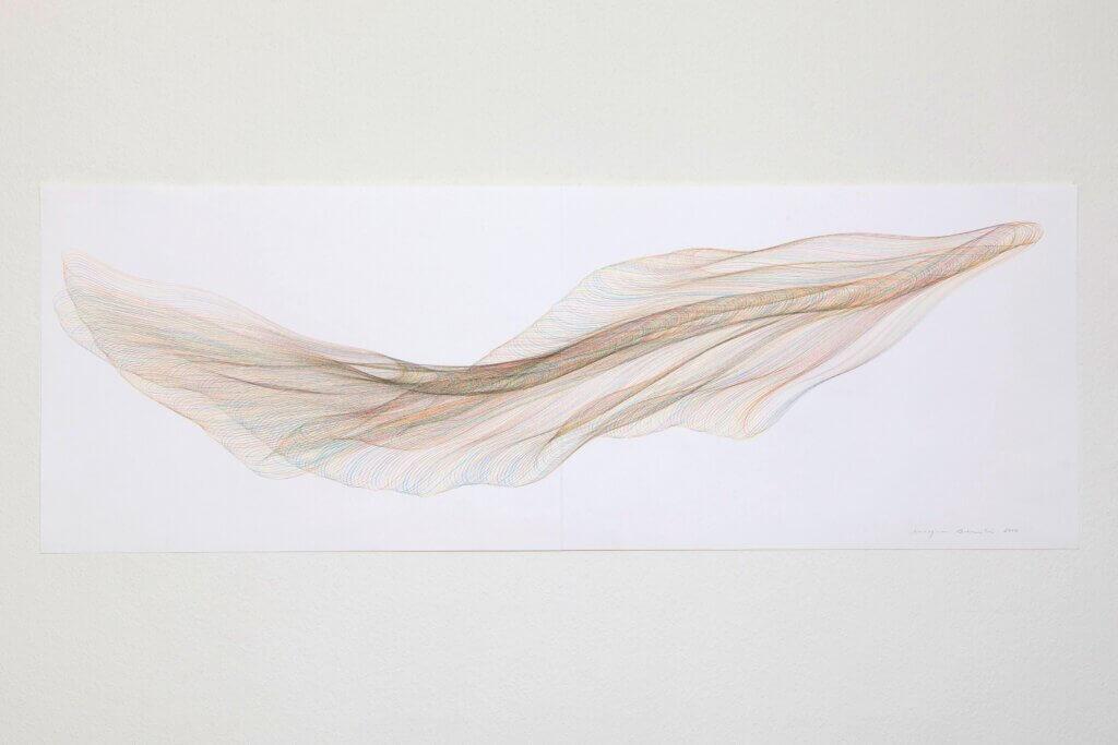 """Aus der Werkgruppe """"Walfischströmungen"""", 2014, Farbstift auf Papier, 59.4 x 168.2 cm"""