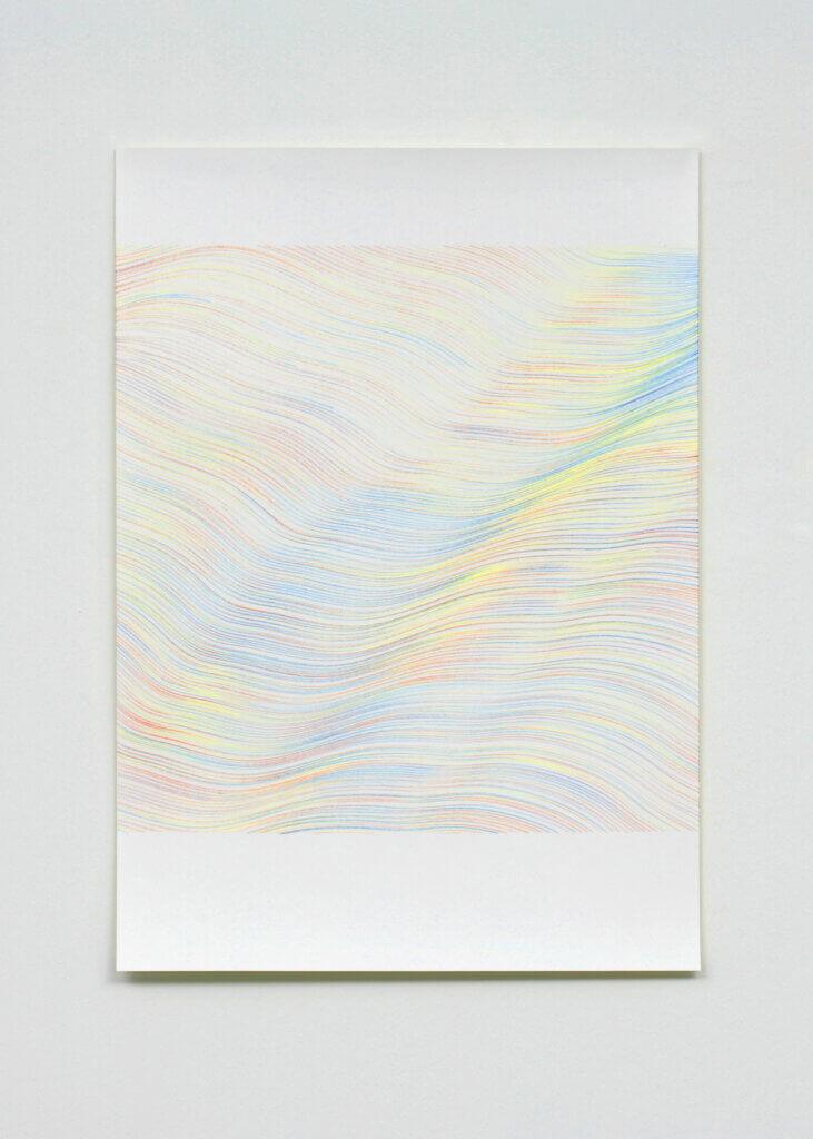 """Wellenmeer"", 2007, 7-teilig, Farbstift auf Papier, je 59.4 x 42 cm"