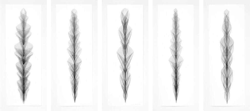 """Auswahl aus der Werkgruppe """"Aufrecht"""", 2019, Bleistift auf Papier, je 168.2 x 59.4 cm"""