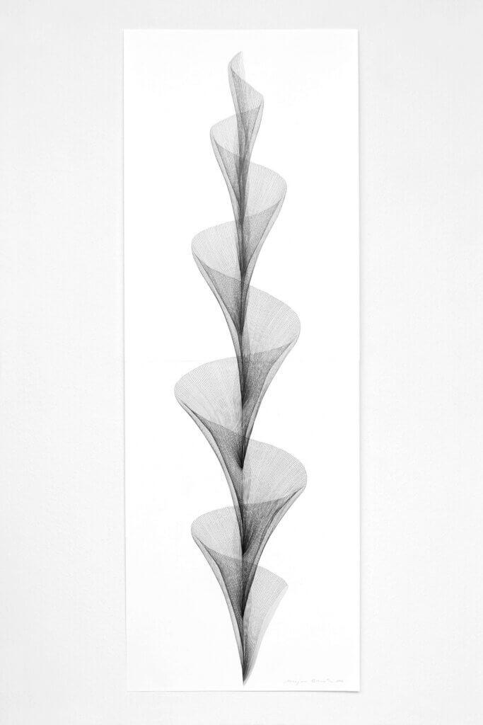 """Aus der Serie """"Beschwingt"""", 2019, Bleistift auf Papier, 168.2 x 59.4 cm"""