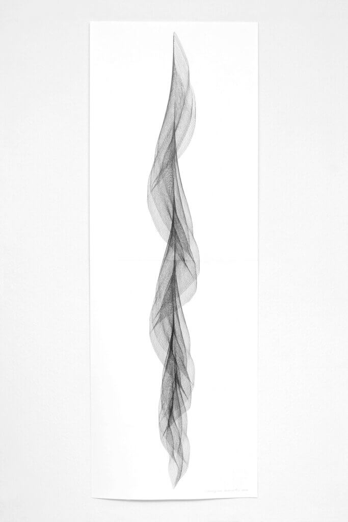 """Aus der Serie """"Fliessend II"""", 2019, Bleistift auf Papier, 168.2 x 59.4 cm"""