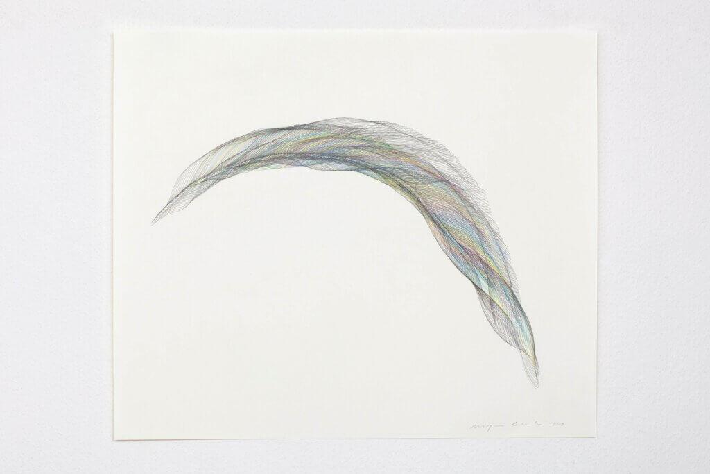 """Aus der Werkgruppe """"Federflug"""", 2019, Bleistift und Farbstift auf Papier, 77 x 64,5 cm"""