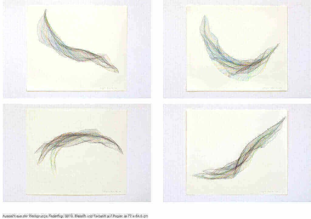 """Auswahl aus der Werkgruppe """"Federflug"""", 2019, Bleistift und Farbstift auf Papier, 77 x 64,5 cm"""