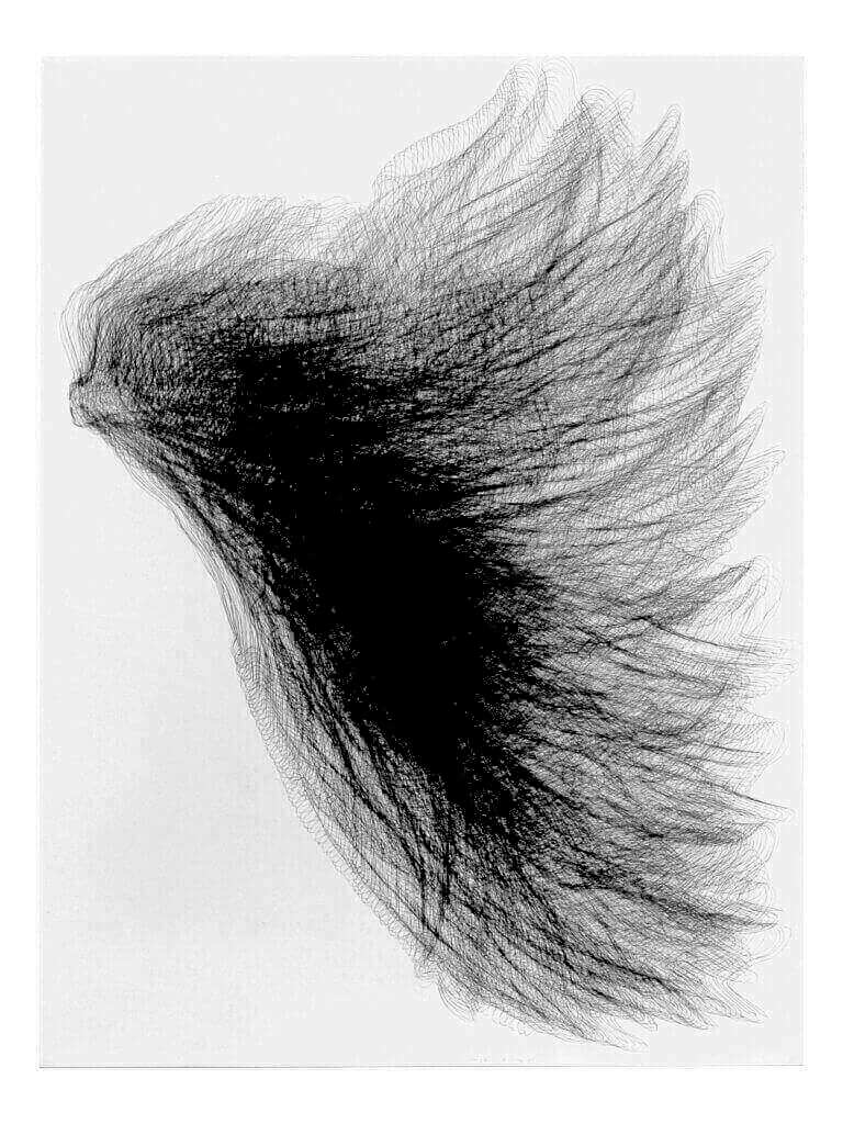 """Flügel III"", 1994, Bleistift auf Büttenpapier, 140 x 107 cm"