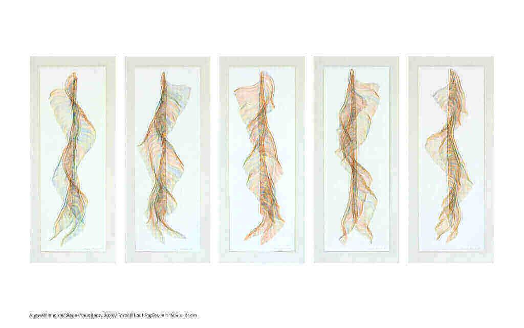 """Auswahl aus der Serie """"Traumtanz"""", 2020, Farbstift auf Papier, je 118.8 x 42 cm"""
